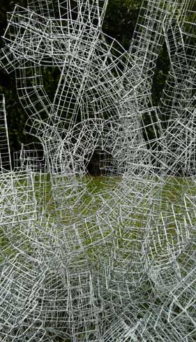 Detail of a wire sculpture by Michelle Backhouse
